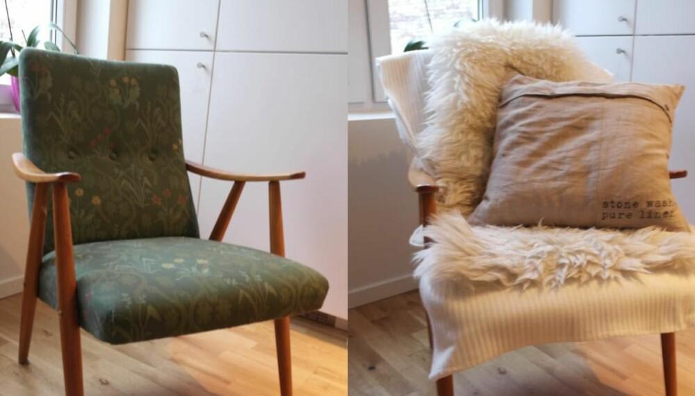 GJENBRUK: Små endringer kan gjøre mye med interiøret – se bare forskjellen på denne stolen!