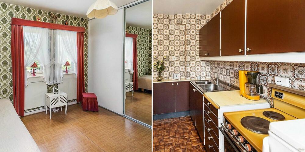 MØNSTRET TAPET: Slik så det ene soverommet og kjøkkenet ut før oppussingen.