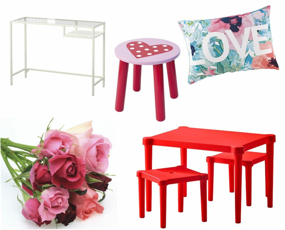 RIMELIGE VARIANTER: Fra venstre, øverst: Vittsjö laptopbord, kr 249 (Ikea). Jabadabado krakk, kr 179 (Jollyroom). Putetrekk, kr 99 (Ellos). Fre venstre, nederst: Bukett med roser (illustasjonsfoto), Utter barnebord med to krakker, kr 119 (Ikea).