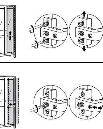 GODT TIPS: Hvis en skapdør er for lav eller skjev eller dørene ikke lukkes helt, så er løsningen å skru på de små skruene på henglsene.