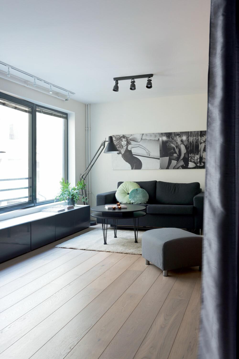 STORT ALLROM: Når forhenget trekkes fra smelter sovesonen sammen med allrommet slik at leiligheten virker overraskende rommelig. Oppbevaringsmøbelet langs vindusrekken kan brukes som sittebenk, slik at stuen kan samle mange mennesker samtidig.