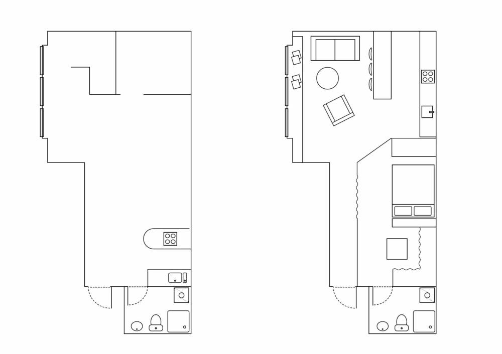 FØR OG ETTER: Kjøkken og stue er slått sammen til én stor sosial sone. Sovenisje, åpen garderobe og bad er lagt til en annen sone. Fra entreen kan man velge å ta til høyre og gå inn i privatsonen, eller fortsette rett frem, inn i stuen.