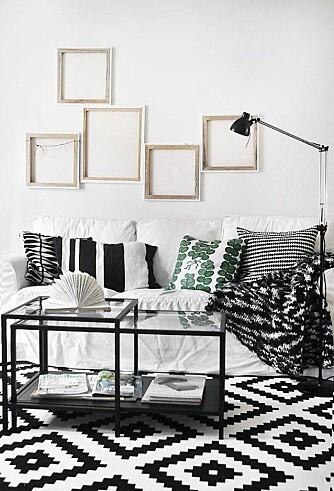 IKEA: Gulvteppet Lappljunga fra Ikea, med sitt sorte og hvite mønster, har vist seg å være så populært at det til stadighet har vært utsolgt i mange av landets Ikea-butikker. FOTO: Ikea