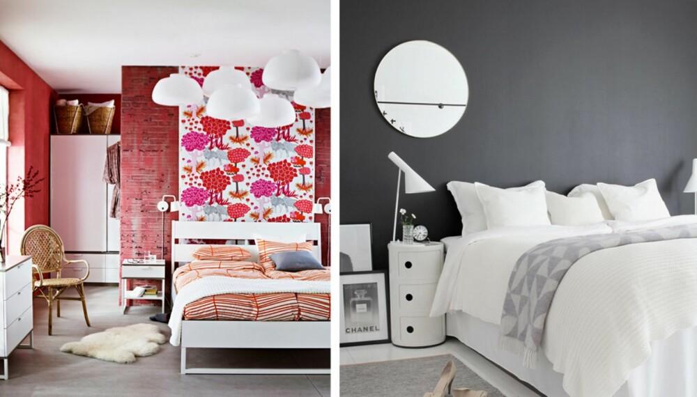 SOVEROM MED SVUNG: På soverommet til venstre sørger en vegg bak sengen for at garderoben er adskilt. En kapaplate er kledd med et tekstil og gir rommet liv. På bildet til høyre sørger den mørke veggen for at rommet får karakter.
