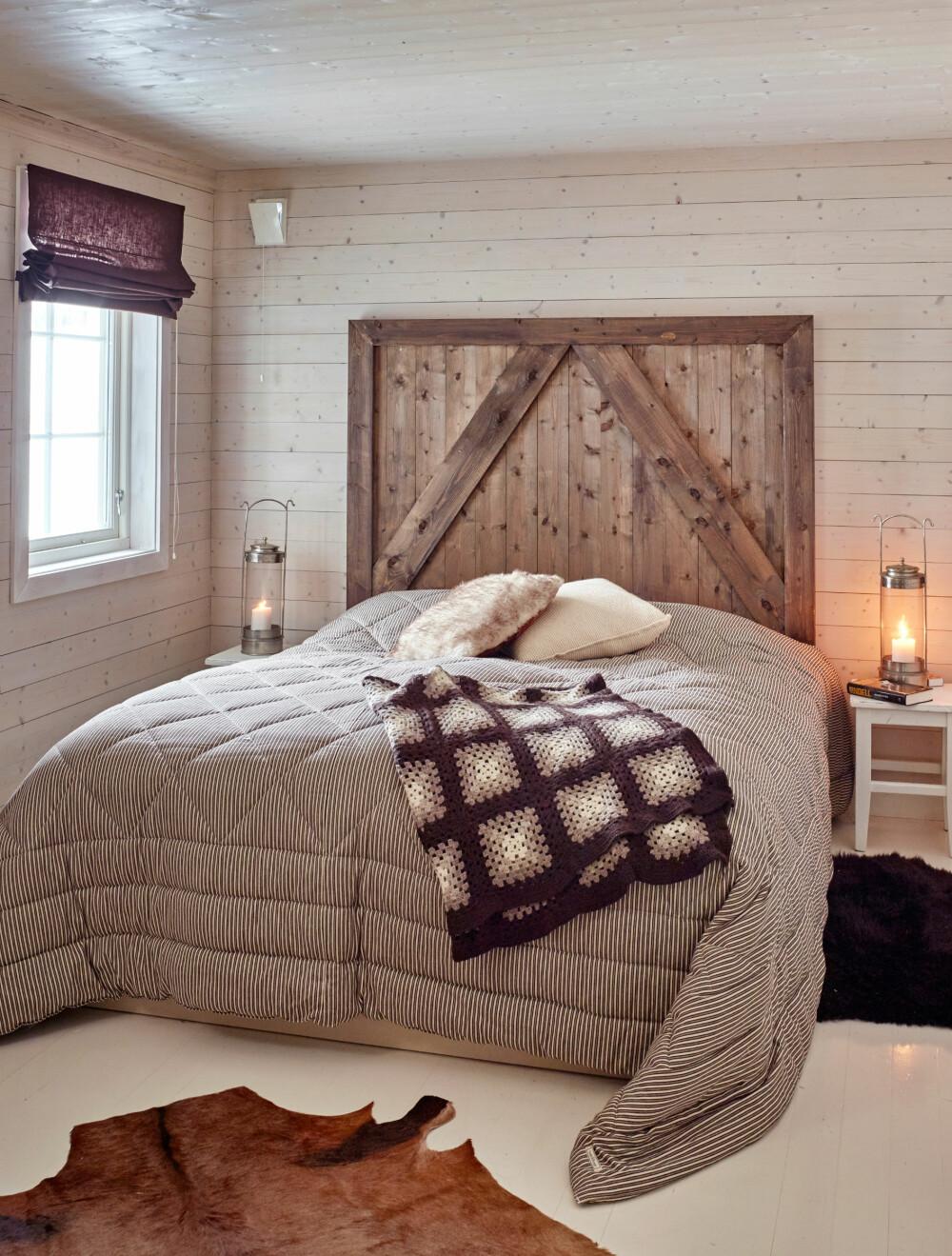 ORIGINAL GAVL: Jannes snekkerkompis laget denne tøffe sengegavlen.