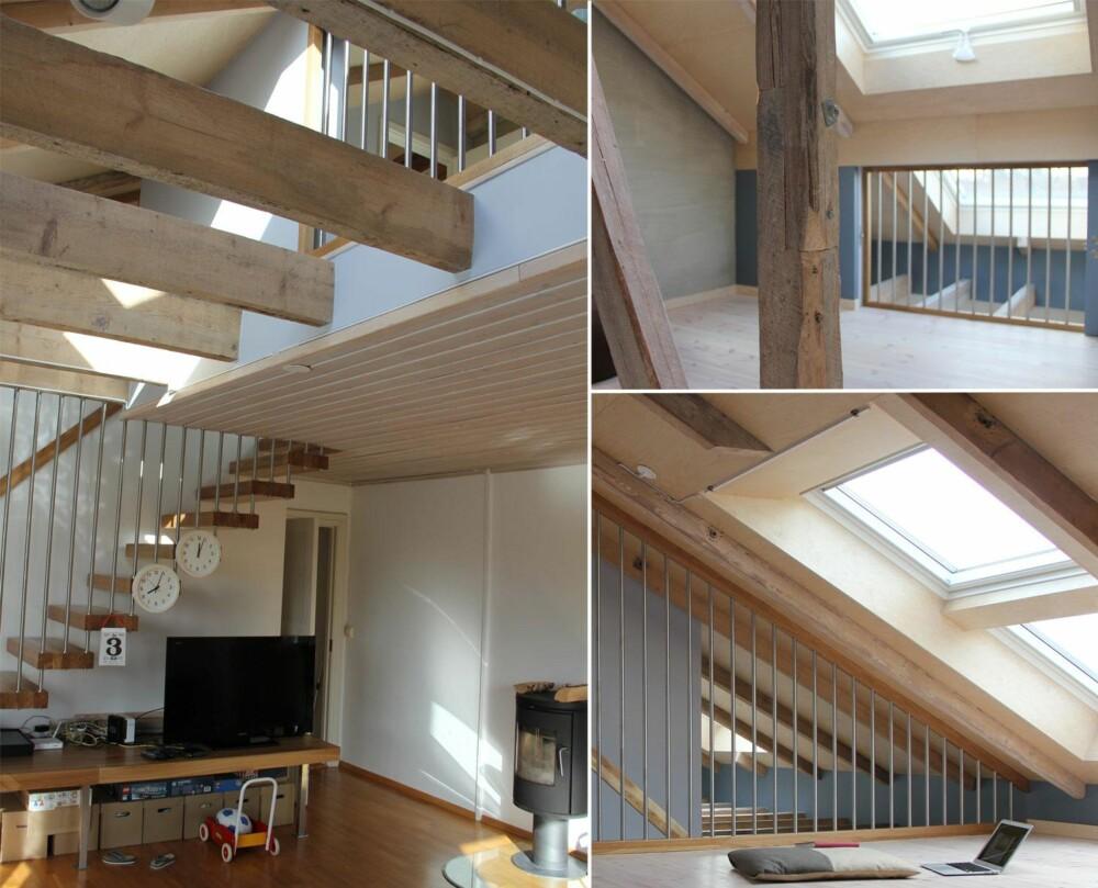 ÅPENT: Arkitektene skapte en åpning i gulvet som både utvider rommet under og sprer lyset fra takvinduene. FOTO: Austigard Arkitektur AS