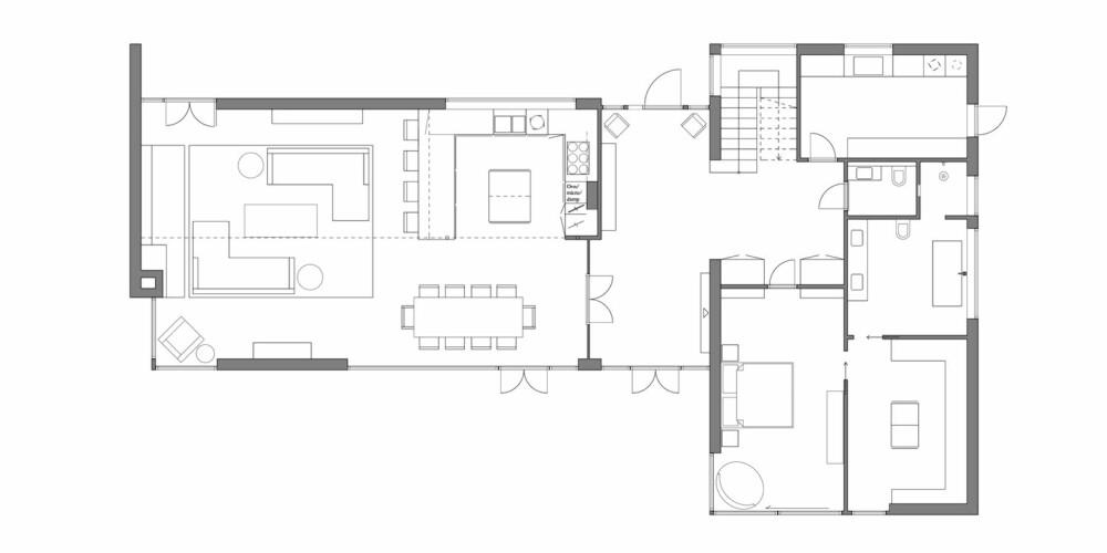 PLANTEGNING: Slik så plantegningen ut for husets 1.etasje.