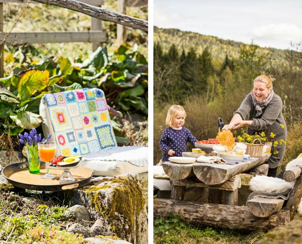 MØT VÅREN UTE: Før hagemøblene er hentet ut klarer det seg med en pute på steintrappa og et gammel brett for å kose seg i vårsola. Fristende frukt og bær i fine farger til lunsj gir vitaminer og hygge på en gang.