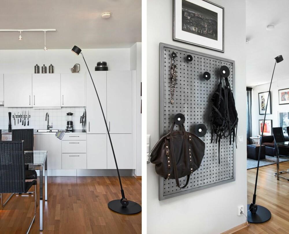 LYSSATT: Glassbordet fra Ikea kan trekkes ut, fra fire til seks plasser. I taket er lyspunktene festet i skinner slik at de er fleksible. Den lange, slanke lampen er fra Davide Groppi, kan kjøpes hos meldgaard.no. Den tar liten plass, kan dimmes og fungerer som en flyttbar pendel. Alle gulvene, med unntak badet, er av eikeparkett, noe som binder rommene sammen. GJEMT BORT: Industriplaten i stål skjuler sikringsskapet. Stålplatene er laget etter mål, og Tove har kjøpt knagger som passer inn i hullene. Interiørdesigneren bruker også stålplatene til å lage røffe hodegjerder til soverommet.