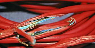 KABELBRUDD: Overbelastning av skjøteledning representerer en brannfare, og dette skjedde da kabelen ble bruk til å lade en elbil.