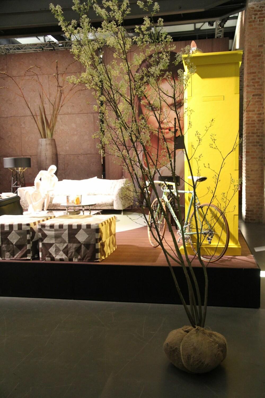 PLANTER: Her er både sykkelen og plantene en del av interiøret i stuen.