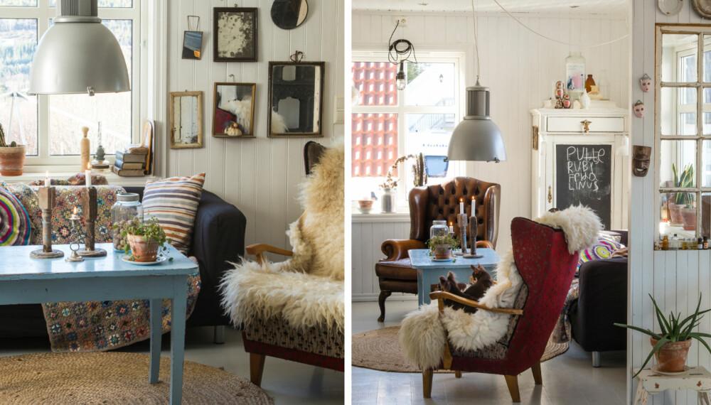 LUNT: Det er lunt i stua til Mette, med varme farger og saueskinn. Det knallblå bordet er som et sukkertøy midt oppi det hele.