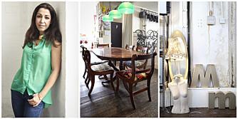 BILDETEKST: Ana bruker mye av tiden sin på møbler. Kjøkkenbordet og kjøkkenstolene fant hun på gaten. Stolputene trakk hun om med stoff fra designeren Alexander Henry. Ana liker å sette sammen ulike møbeldeler, og lampen til høyre er en av hennes mange kreasjoner.