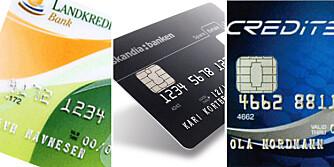 TRE FÅR FEM: Vi har sammenlignet kredittkort på grunnlag av transaksjonskostnader, effektiv rente, og rentefri kredittid.
