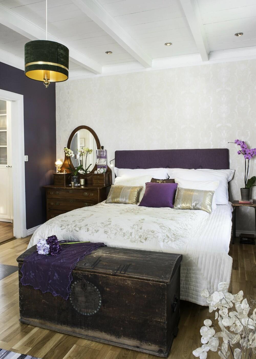 VARME VEGGER: På soverommet er den ene veggen malt i mørk aubergine, en fin kontrast til tapetet fra Storeys, som henger igjen fra før paret bygget om og det varstue her. Taklampen er et bruktfunn, mens kisten sto på loftet da de flyttet inn. Martes sminkebord er fra Fretex.