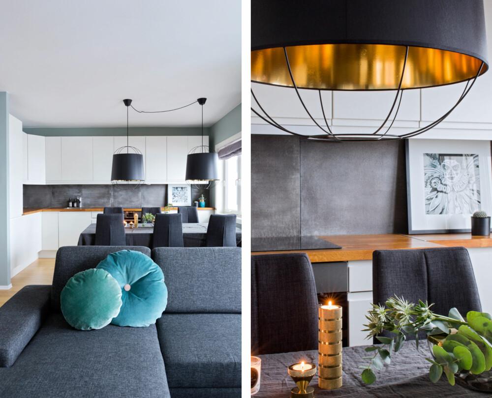 GRÅ FLISER OG MINTFARGEDE VEGGER: De grå flisene i bakgrunnen står fint mot sofaen og binder sammen kjøkken og stue. Den grønne fargetonen på veggen rammer inn det hele. Det er blitt en god balanse i allrommet. Veggene er malt med fargen Minty Breeze fra Jotun. De særpregede lampene over kjøkkenbordet er det første du legger merke til. Gullfargen på innsiden gir fin glød rundt bordet. Lampene fra Petite Friture er kjøpt på room21.no.