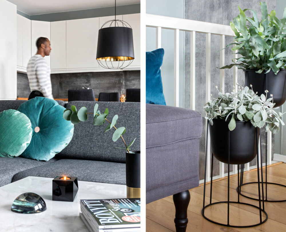 GRØNNE DETALJER: Den stramme sofaen ble myket opp med puter med runde former i fløyel. De grønne detaljene her spiller fint sammen med den nye fargen på veggen. Sofabordet er fra ellos.no og borddekoren fra Eske. En miks av materialer og grønne planter gjør leiligheten lun – og levende. Benken fra Ikea kan også brukes til oppbevaring. I bakgrunnen skimtes tapetet Concrete Wall fra Mr Perswall. Blomsterstativet og pottene er fra Eske, og blomstene er fra Frøken Flood Blomster.