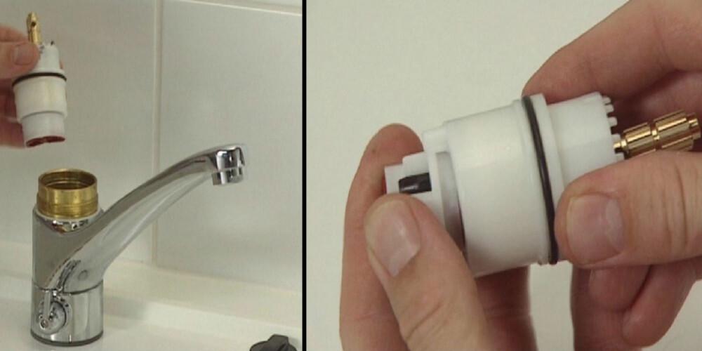BYTTE KASSETT: Hvis det lekker fra selve tuten på kranen så må du bytte den såkalte kassetten inni krankroppen. Husk å skru av hovedkranen før du demonterer kjøkkenkranen.