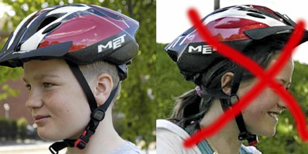 SLIK, IKKE SLIK: Sykkelhjelmen skal dekke pannen og ikke sitte for langt bak på hodet.