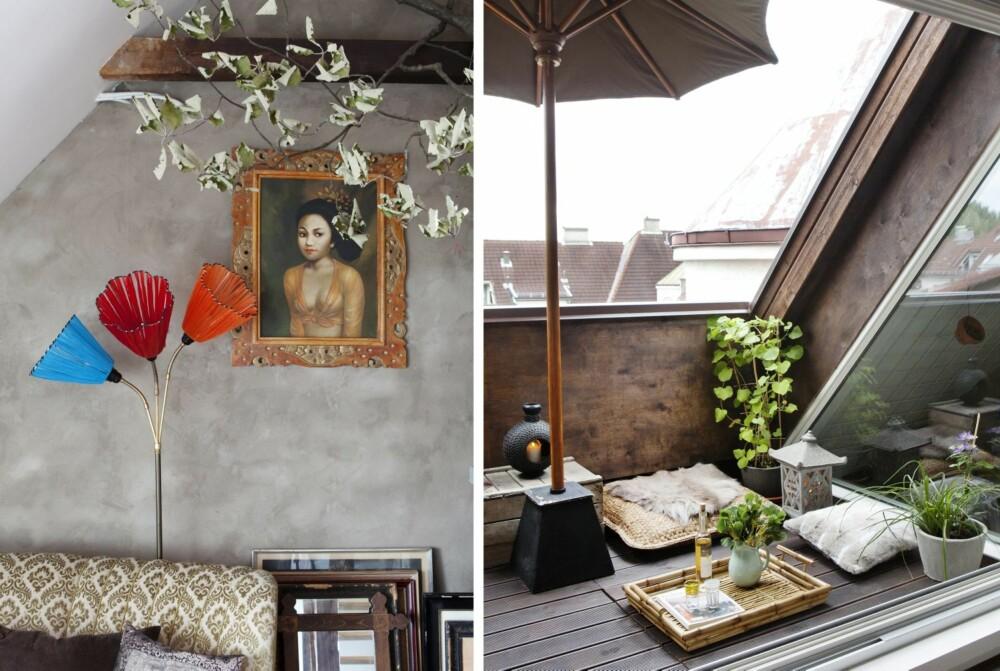 BEACH BUNGALOW: Med utgang til en deilig takterrasse blir feriefølelsen komplett, i alle fall om sommeren. Midt på gulvet sitter en balinesisk buddha og mediterer. Maleriet av den unge piken hang bak disken i en kiosk på Bali.