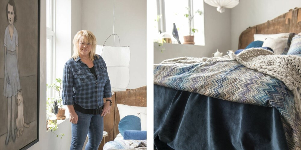 JAKTER PÅ STEMNING: Interiørstylist Tone Kroken beskriver stilen sin som bohemsk. Interiøret er en tilfeldig samling av gjenstander hun har fått, arvet eller kjøpt brukt. Selv liker hun å skape en god stemning, noe hun gjør ved hjelp av tekstiler og en miks av materialer og farger. Maleriet er malt av Gøril Fuhr. 2.Tone har valgt lyse vegger, tak og gulv – og bryter heller med en sterk kontrastfarge. Akkurat nå er favorittfargen en mettet blåfarge, men preferansene endrer seg gjerne etter sesong, og da kan hun enkelt skifte ut både puter og småmøbler. Pleddet er fra Anouska, og taklampen er fra Bolina.