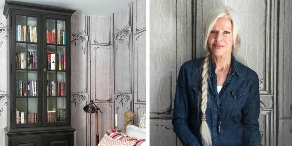 TEKSTILDRONNINGEN: Anitha Trier er syerske og interiørkonsulent, og i mange år drev hun butikken Trier bak Slottet. Nå driver hun Trier design & interiørsøm på Torshov. 2. Anitha leser mye, og gjerne på sengen. Bøkene oppbevarer hun i et bokskap i Gustaviansk stil fra K.A. Roos. Det strikkede pleddet på sengen er fra belgiske Libeco.