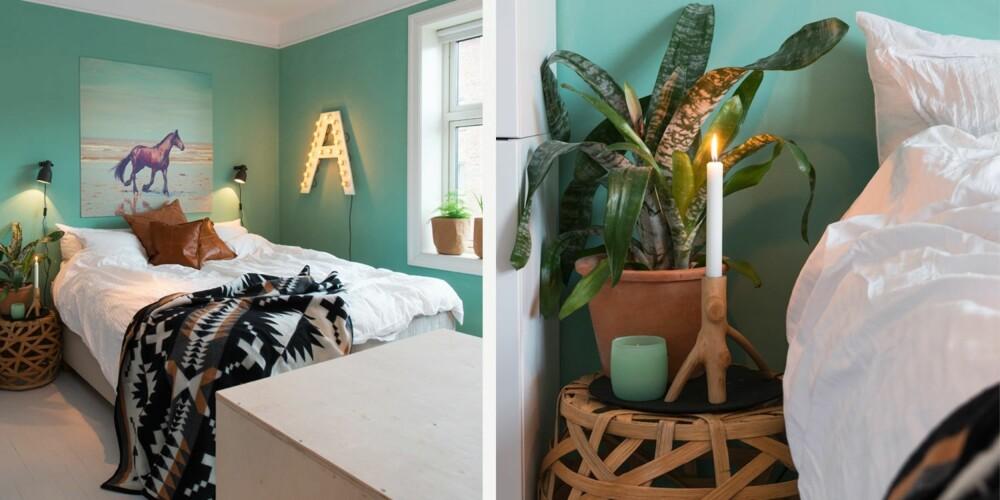 FRISKT OG FRODIG: 1. Det er innredet med lyse toner, naturlige materialer og det er raust med tekstiler. Bildet er fra Shutterstock, og er trykket på forex hos Copycat. Putene i lær og pleddet er fra Milla Boutique. Skapmodulene og frontene er fra Ikea. Veggen er malt med fargekoden NCS S 2020-B90G. 2. Sørg for en ekstra hyggelig stemning ved nattbordet. Bordet fra Milla Boutique har myke former, og gir rommet varme og karakter. Lysestaken laget av en gren er også fra Mila Boutique, og duftlyset er fra H & M Home.