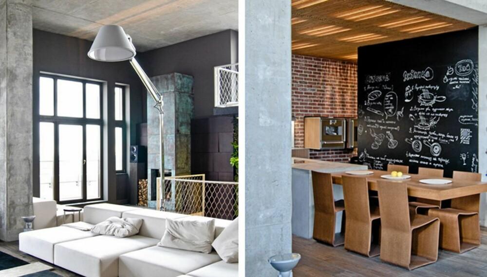 INDUSTRIELT OG RUSTIKT: Den kule leiligheten har en gjennomgående bruk av betong og mange tøffe detaljer.