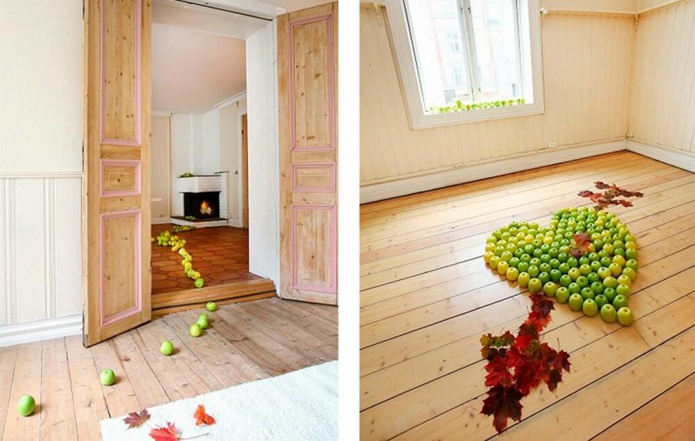 KUNSTNERISKE EFFEKTER: Stylisten har lekt seg med fargespill og dekorasjoner.