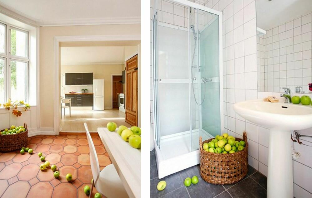 FRISK FRUKT: Eplene er plassert i alle rommene i boligen.