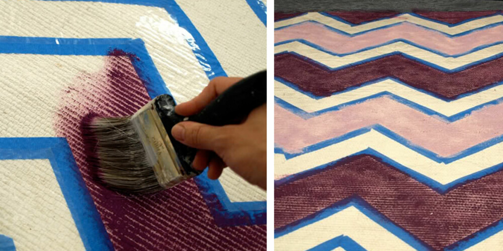 SLIK GJØR DU 2: Mal med ønsket farge(r). Pass på å holde deg innenfor tape-stripene.