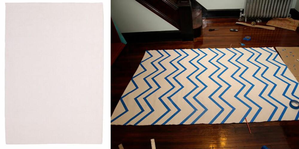 SLIK GJØR DU: Én stk innkjøpt matte fra Ikea, pluss malingstape sat på i ønsket mønster. (Chevron-mønster, eller sikk-sakk, som dette, er kjempe-HOT i interiørverdenen akkurat nå.