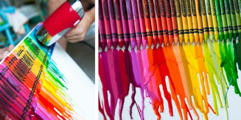 REGNBUEN: En boks fargekritt og en hårføner og vips; kunst ingen andre har maken til.