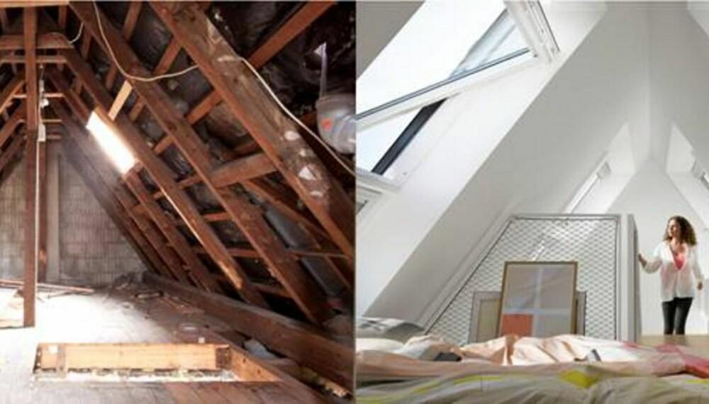FRA TØRKELOFT TIL LOFTSLEILIGHET: Dette er det samme loftet.