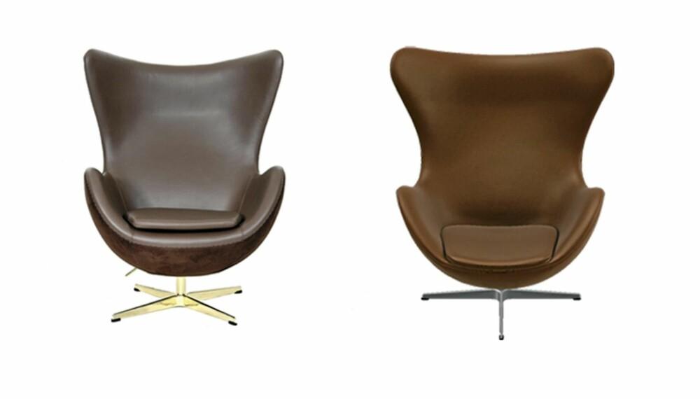 """TILSYNELATENDE LIKE: Stolen til venstre er fra Classic Furniture 4 u og er en kopi av Arne Jacobsens """"""""Egget"""""""". Stolen til høyre er den originale, produsert med lisens av Fritz Hansen."""