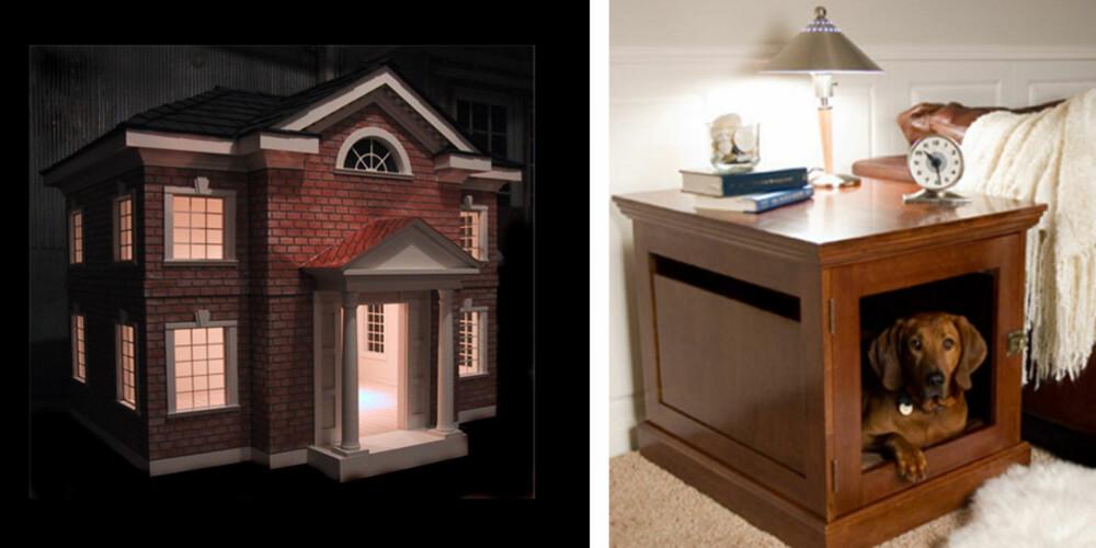 UTE OG INNE: Om du ikke liker tanken på at den dyrebare firbente bestevennen din skal sove ute i hagen, kan du jo få laget et hus i huset.