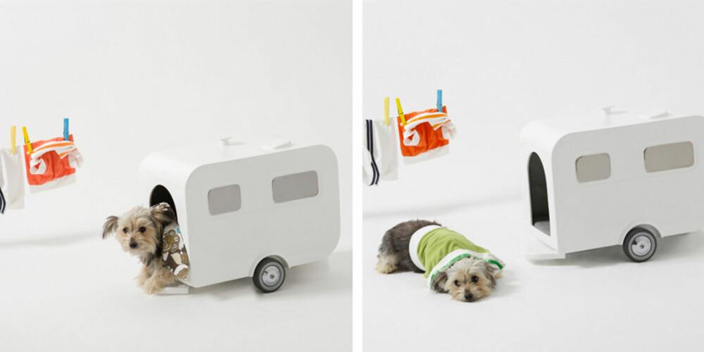 FOR DEN RASTLØSE HUNDEN: Dette minihuset, formet som en camoingvogn, kan flyttesrundt omkring ettersom hunden din skulle føle for det.
