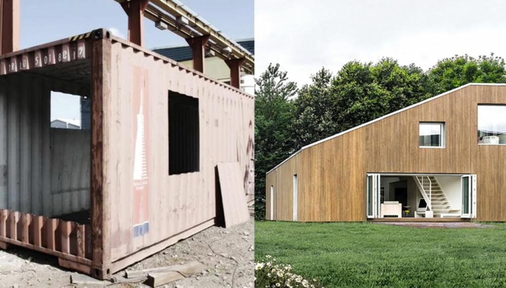 UGJENKJENNELIG: Det er ikke mange som kunne tenkt seg at containeren til venstre skulle kunne bli til huset vi ser til høyre.