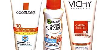 TEST AV SOLKREM: Seks av 14 solkremer  kommer bra ut i en  fersk dansk test av solkrem. Flere selges i Norge.