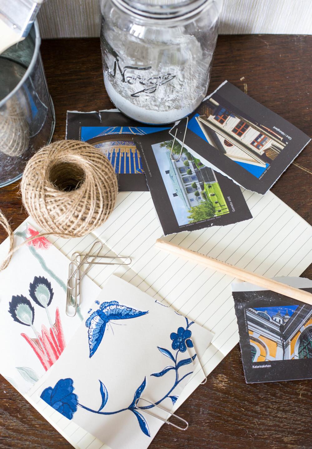 NOTATBLOKK: Kjøp deg en notatbok hvor du limer inn bilder som inspirerer deg underveis i planleggingen. Noter ned farger og tapetnavn du kommer over. (FOTO: Lise M Stang-Jacobsen/@Hverdagslykkelise)