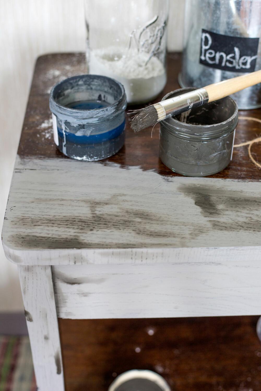 BETONGLIGNENDE: Her begynner malingen å tørke og vi får et matt, betonglignende uttrykk. (FOTO: Lise M Stang-Jacobsen/@Hverdagslykkelise)