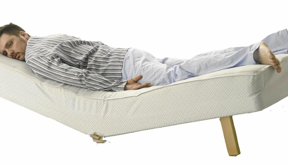 NATTESØVN: Oppskriften er relativt enkel: Dess bedre madrassen er for deg, jo bedre vil du sove om natten. Denne karen går en tøff morgendag i møte!