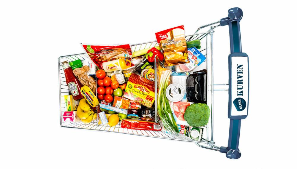 PRISTEST: Handlevogna romemr en storhandel av vanlige matvarer og toalettartikler. Totalt ligger det 74 ulike varer i  vogna.