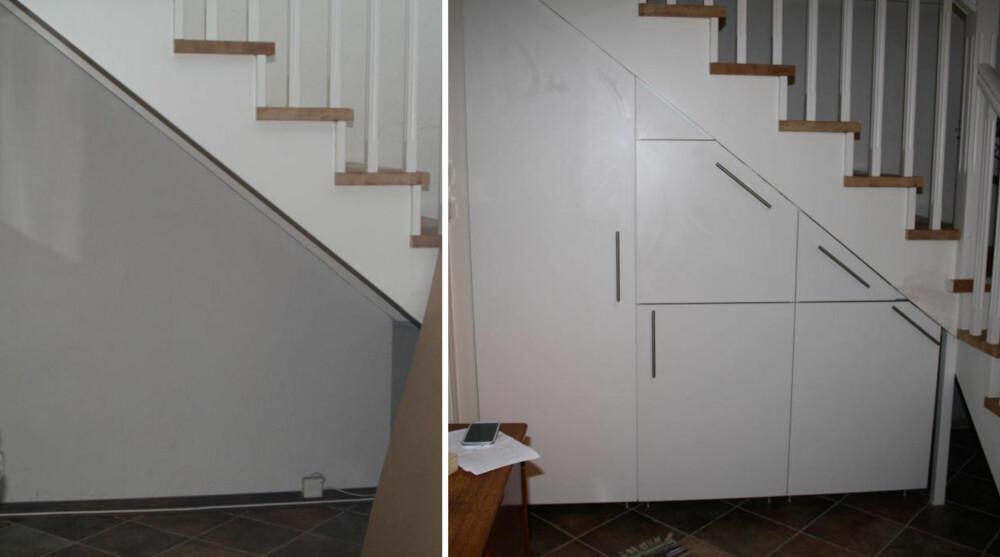 FØR OG ETTER: Å få inn skap under trappa er hverken vanskelig eller spesielt dyrt, ifølge Ingrid Thjømøe.