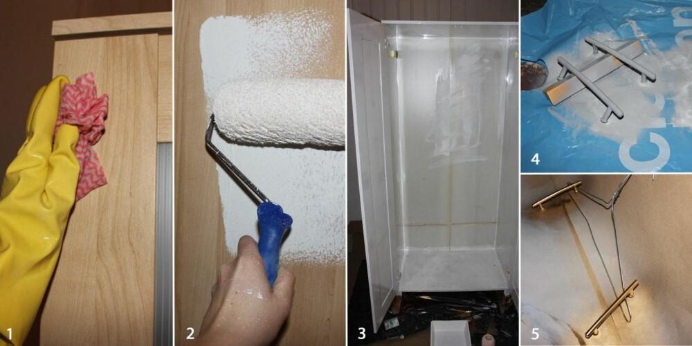 GRUNNLAGET: Skapet ble først vasket med vann og salmiakk (1) og deretter malt med Heftgrunn (2 og 3). Mens dette tørket ble de nye knottene sprayet med primer (4) og gull (5).