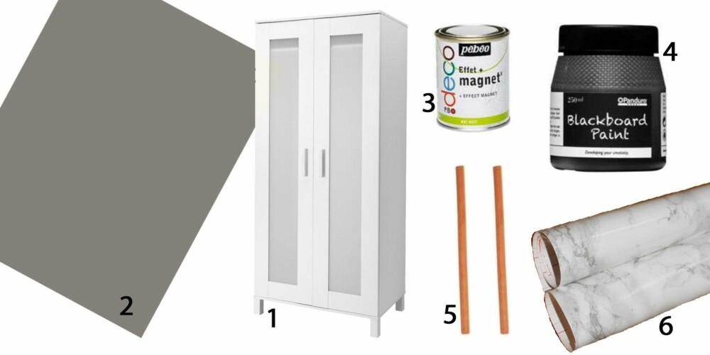 KONTOR: Man kan gjøre om skapet til et lekkert hjemmekontor. Selve skapet (1) kan for eksempel males skifergrått, foreslår interiørblogger Nina Bye. Et eksempel er fargen Grå Skifer 1462 fra Jotun (2). Sideveggene og bakveggen kan deretter males med magnetmaling som Effet Magnet fra Panduro (3). Til slutt maler du over dette igjen med tavlemaling, for eksempel Blackboard Paint fra Panduro (4). Lekre detaljer er skinnreimer (5) i stedet for knotter og marmorfolie (6) på benkeflaten og plasten i dørene.
