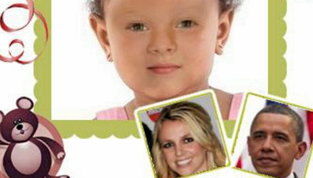 STJERNEBABY: Ifølge makemebabies.com ville datteren til Barack Obama og Britney Spears sett slik ut. Tror du det stemmer? Sjekk hvordan din fremtidige baby ville sett ut.