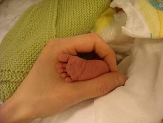 FEM SMÅ TÆR: Lucas' lille fot i mammas hånd.