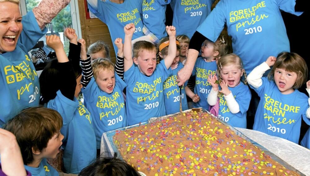 JUBLER FOR BARNEHAGEPRISEN: Som Årets barnehage får Hannes lekestue 30.000 kroner  til å skape flere 'unike opplevelser for barna'. Med andre ord: Mer kake.