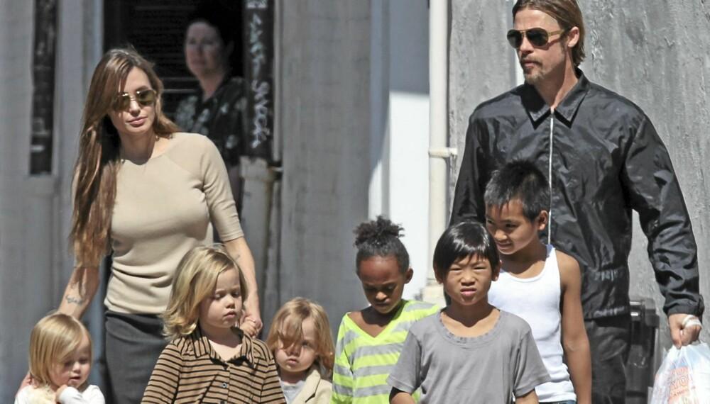 STOR BARNEFLOKK: Trendsetterne Angelina Jolie og Brad Pitt har barna Maddox , Zahara, Shiloh, Pax og tvillingene Knox og Vivienne. Men nordmenn nøler med å følge etter.